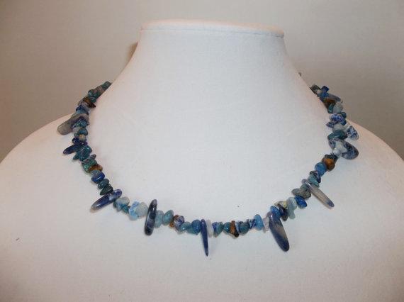 Men's Blue Gemstone Chip Necklace