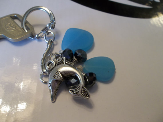 Dolphin Keychain with Aqua Sea Glass and Czech Crystal