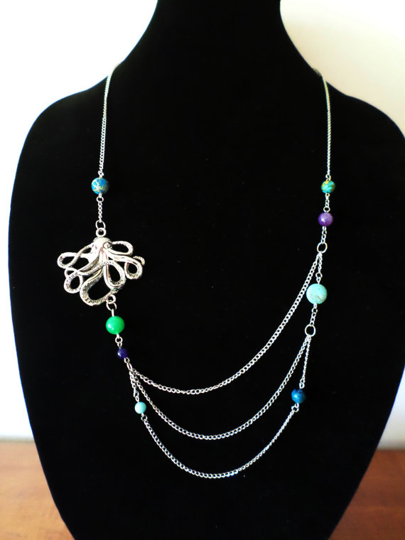 Silver Triple-Chain Octopus Necklace with Semi-Precious and Glass Beads by Richard Gallo-Anderson