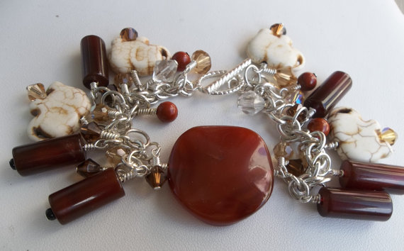 Handmade Carnelian Bracelet with White Howlite Elephants and Swarovski Crystal