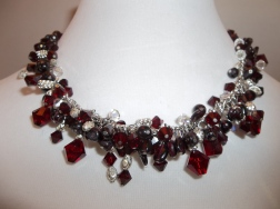 Garnet and Swarovski Necklace with Sterling Silver