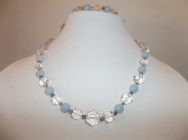 Angelite and Vintage Crystal Necklace