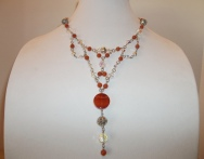 Carnelian and Swarovski Bib Necklace, 2009