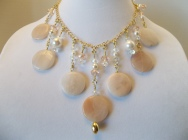 Pink Calcite and Czech Crystal Necklace