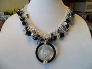 Black Onyx and Swarovski Crystal Statement Necklace with Focal Piece