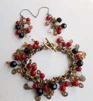 Red Coral and Swarovski Crystal Bracelet and Earrings