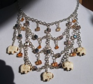 Howlite Elephant and Czech Crystal Elephant Bib Necklace
