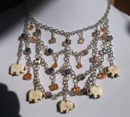 Howlite Elephant and Czech Crystal Elephant Bib Necklace