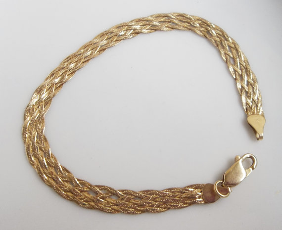 14k Gold Vintage 1970's Serpentine Bracelet 35% Off