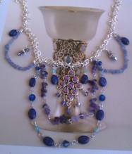 Lapis Lazuli, Tanzanite and Swarovski Bib Necklace