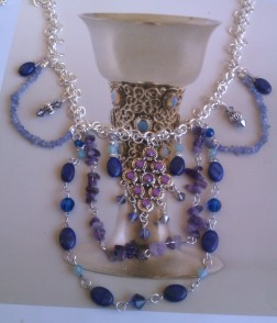 Lapis Lazuli, Tanzanite and Swarovski Bib Necklace