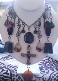 Chunky Gemstone Necklace with Gemstone Cross Necklace