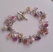Swarovski and Czech Crystal Bracelet with Glass Pearls