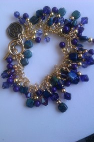 Chrysocolla,Purple Jade and Swarovski Bracelet