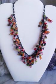 Multi-Gemstone Chip Black Shaker Necklace