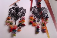 Gemstone Chip Black Chandelier Earrings