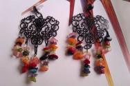 Gemstone Chip Black Chandelier Earrings