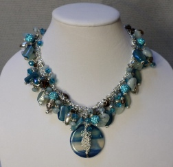 Blue Agate, Aquamarine, Aqua Jade and Swarovski Statement Necklace with Focal Piece