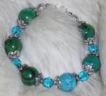 Blue gemstone and crystal bracelet.