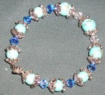 Blue Bracelet in Turquoise with Swarovski crystal Sapphire beads.
