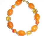 Handmade Amber and Swarovsk Crystal Bracelet
