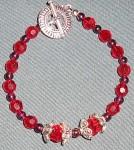 Red Swarovski Crystal Bracelet, Handmade