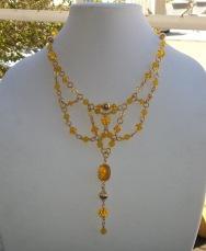 Yellow Jade and Swarovski Bib Necklace with Yellow Opal Focal Piece