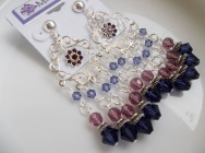 Multi-Row Chandelier Swarovski Earrings with Central Crystals