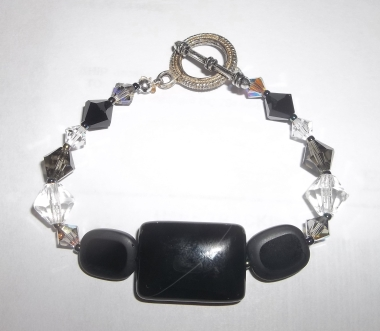 Black Onyx Bracelet with Vintage Glass Beads and Swarovski Crystal in Antique Silver