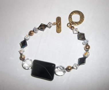 Black Onyx Bracelet with Swarovski and Czech Crystal in Antique Gold.