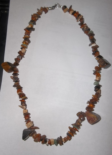 Tiger Eye, Picture Jasper and Baltic Amber Chip Necklace with Large Tiger Eye Nuggets