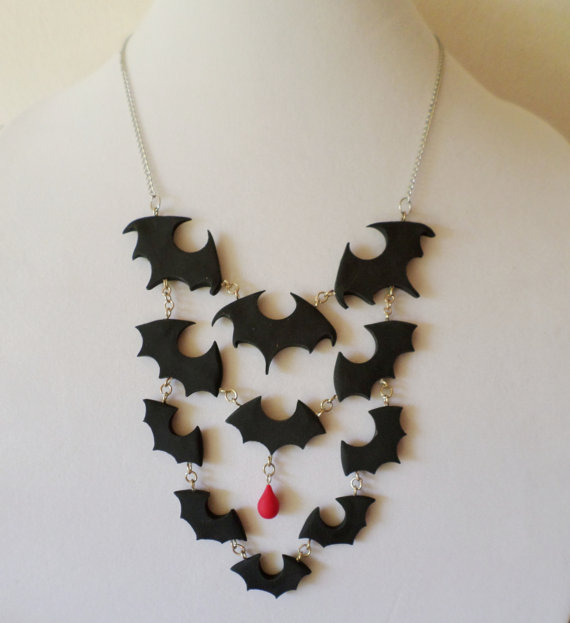 Polymer Clay Bat Swarm Bib Necklace